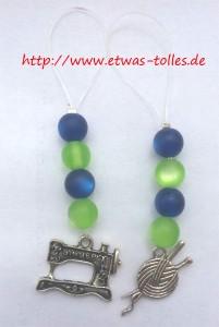 Selbstgemachte Maschenmarker grün-blau