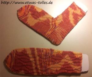 Die fertigen Par-5-Socks auf selbstgemachten Sockenbrettern
