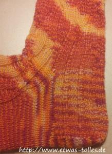 Die ausgearbeitete Ferse eines Par-5-Socks-Socken