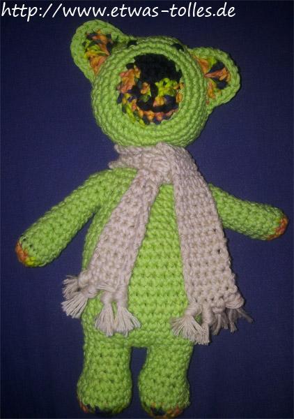 Ein Wärme-Teddy in der Hauptfarbe Grün