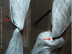 Fadengardinen Waschen Schritt 2 - Kabelbinderenden stutzen