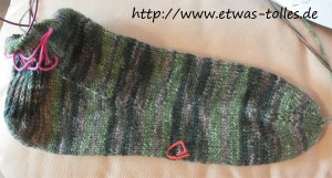 Fertiger Fußteil der Toe-Up-Socken